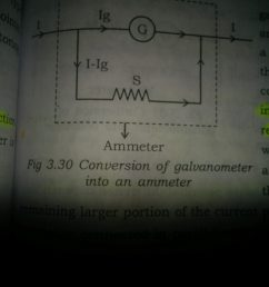 so the ammeter parallel combination of galvanometer and shunt resistance will have low resistance  [ 2448 x 3264 Pixel ]