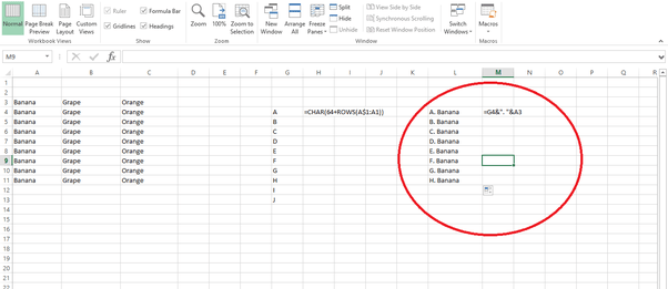 How to make a list in excel with alphabets as numbering