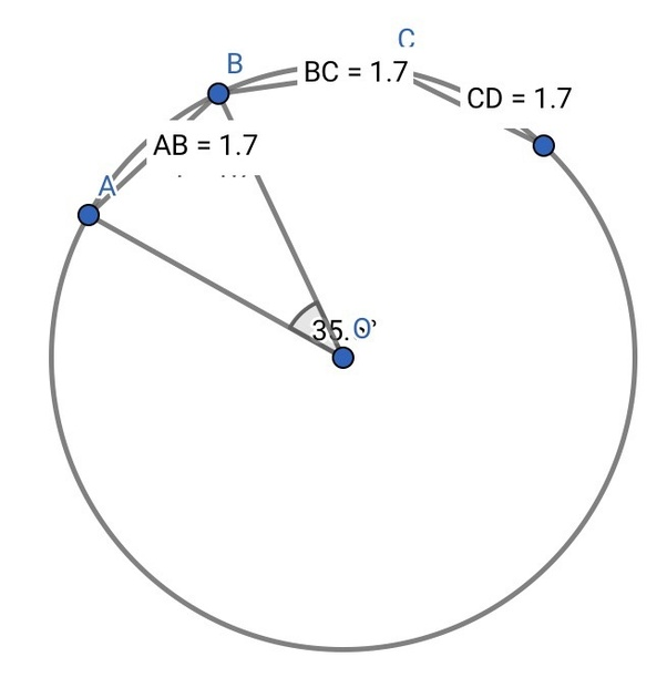 AB, BC, and CD are equal chords of a circle with O as a