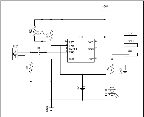 Can I use a piezo element as an on-off switch in an