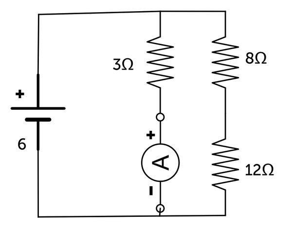 If a circuit diagram consist of 3 resistors, 8 ohm, 12 ohm