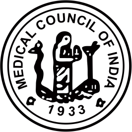 Who is the man standing in the symbol of medical council