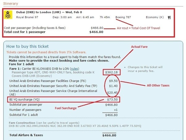 How are airline ticket fuel surcharges calculated? - Quora
