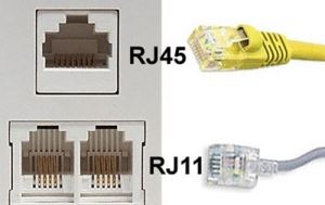 What's the difference between RJ11 and RJ45 ether