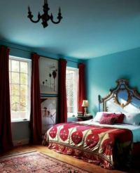 Which colored curtains go with light blue walls?