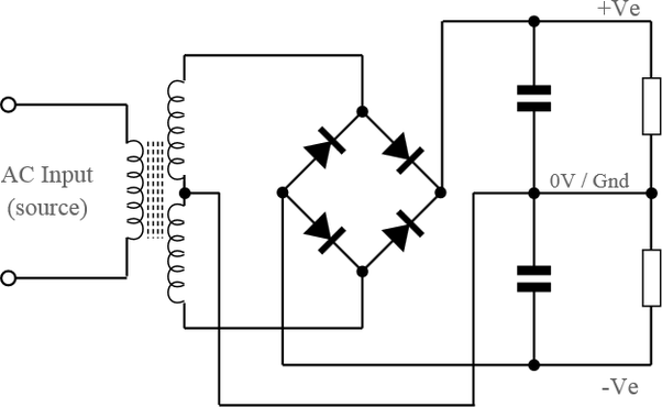 What is a dual polarity power supply using a transformer