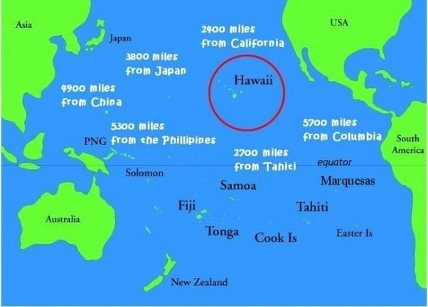 World Map Hawaiian Islands
