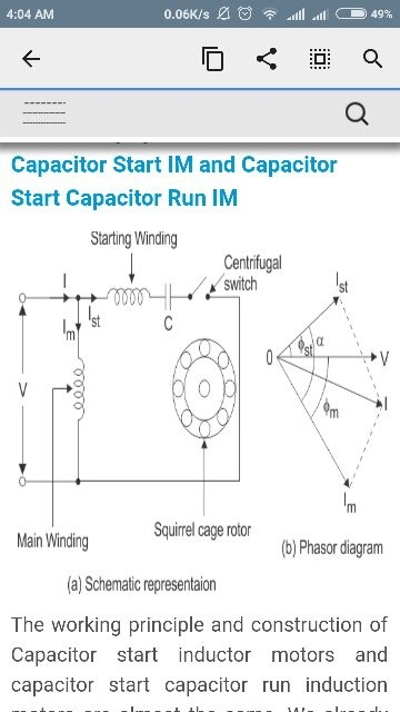 A Ceiling Fan Uses Capacitor Start Motor