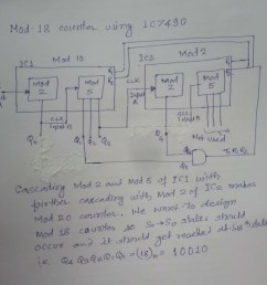 so by anding q4 and q1 and connecting to r1 and r2 of both ic it will work as mod 18 counter see the logic diagram below  [ 1220 x 1094 Pixel ]
