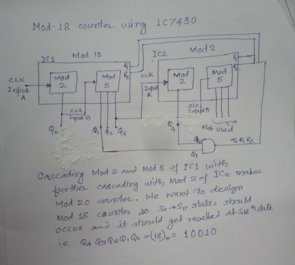 medium resolution of so by anding q4 and q1 and connecting to r1 and r2 of both ic it will work as mod 18 counter see the logic diagram below