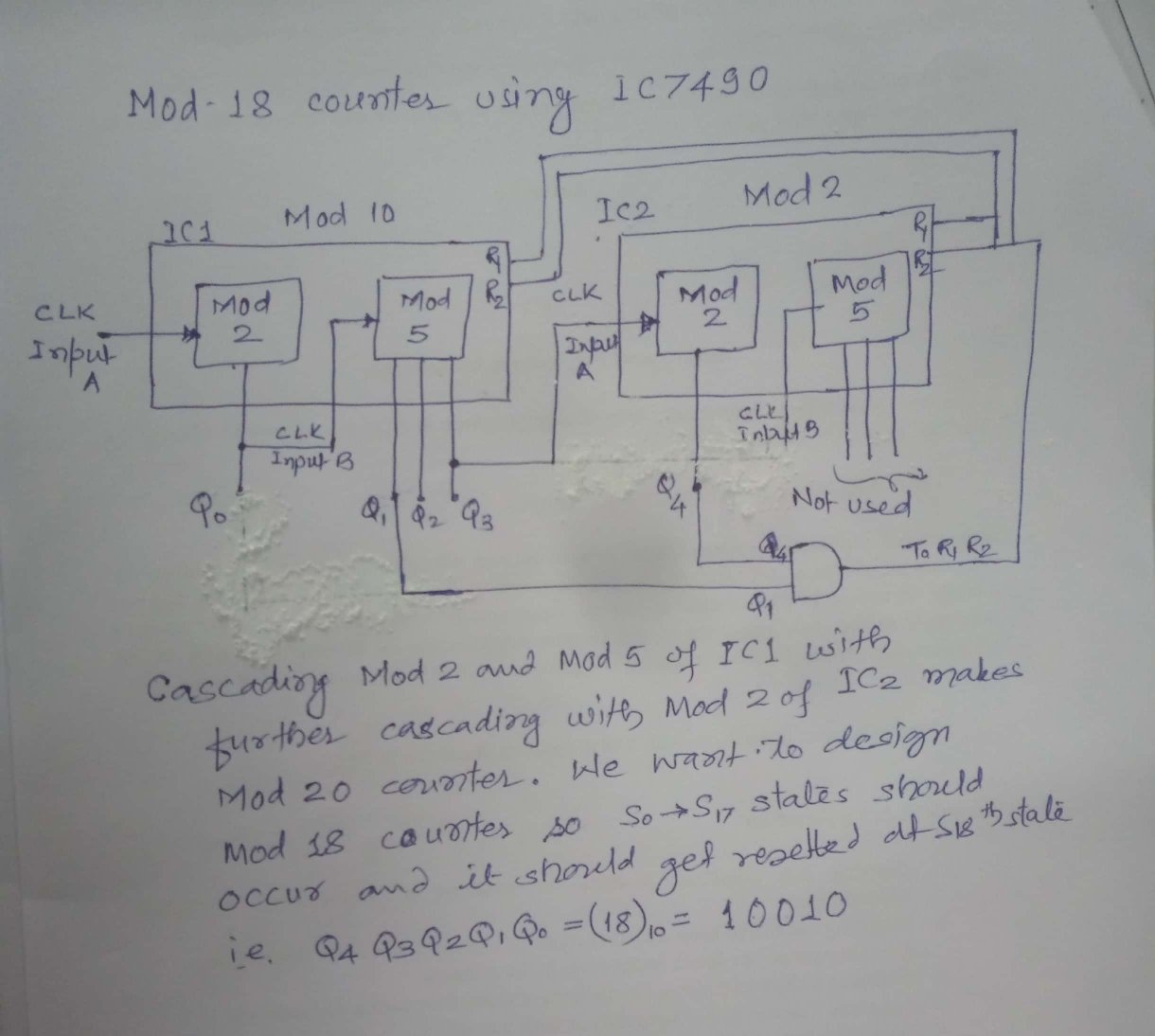 hight resolution of so by anding q4 and q1 and connecting to r1 and r2 of both ic it will work as mod 18 counter see the logic diagram below