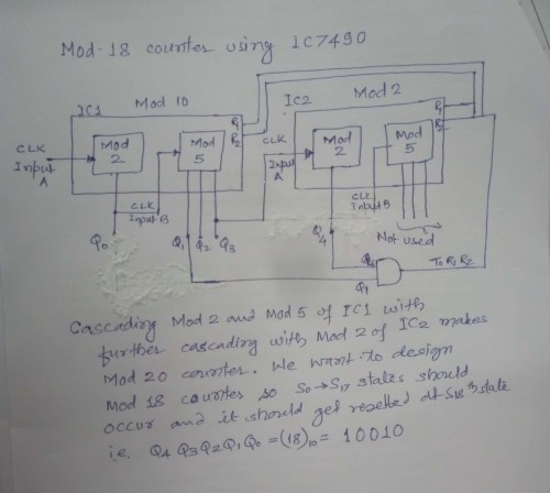 small resolution of so by anding q4 and q1 and connecting to r1 and r2 of both ic it will work as mod 18 counter see the logic diagram below