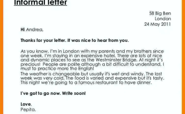 What Is The Proper Format Of Writing Informal Letters Quora