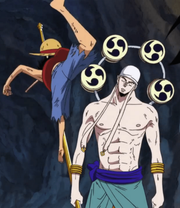 But at some point, i'm confused from this fact since lighting that strikes at 1 million volts would burn anything, even rubber. One Piece Wallpaper: One Piece Luffy Vs God Enel