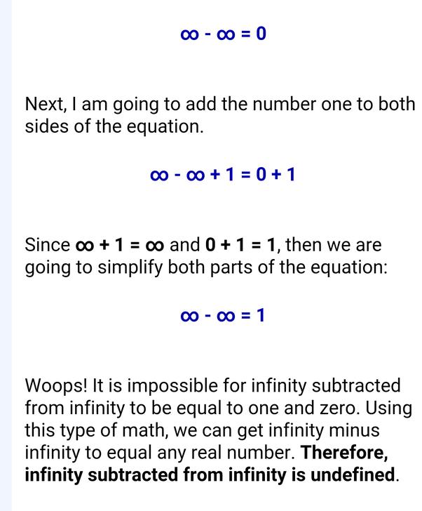 What is infinity minus infinity? - Quora