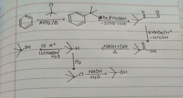 Is it possible to convert benzene to tert-Butyl alcohol