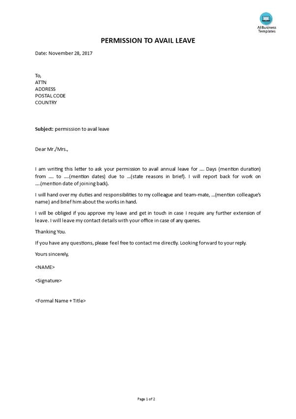 seek leave letter