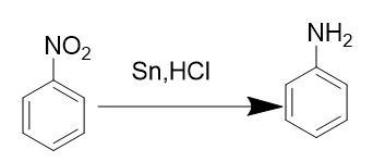 How can aniline be obtained from nitrobenzene? Describe