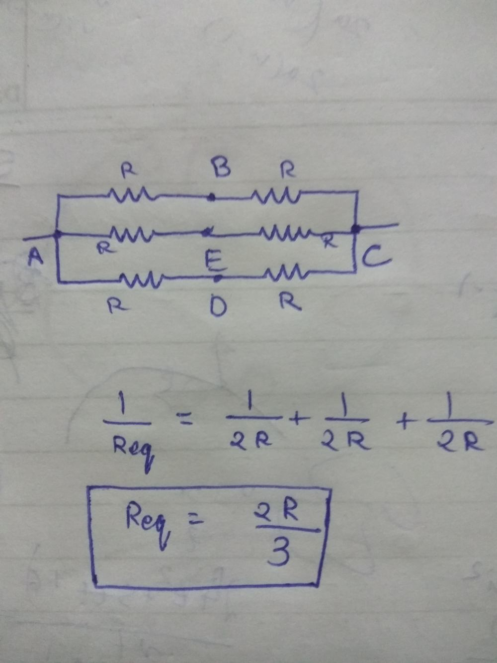 medium resolution of applying the formula for parallel resistors we get the equivalent resistance of the circuit as 2r 3