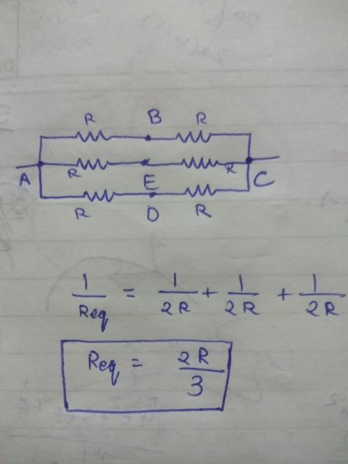 small resolution of applying the formula for parallel resistors we get the equivalent resistance of the circuit as 2r 3
