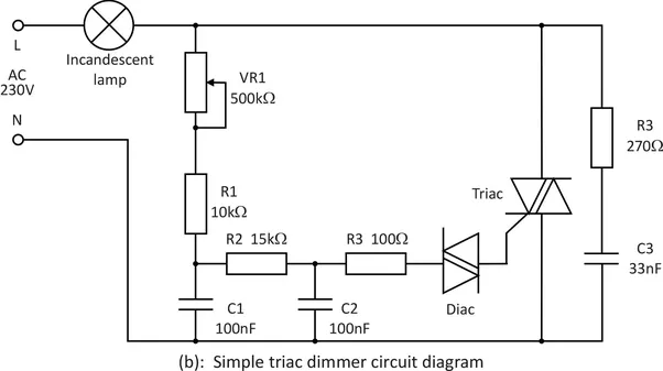 basic triac light dimmer circuit diagram