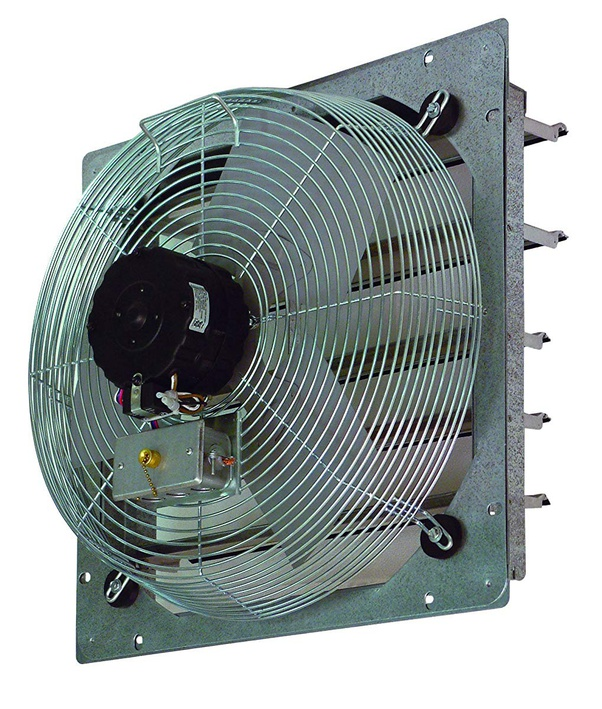 the room with an exhaust fan
