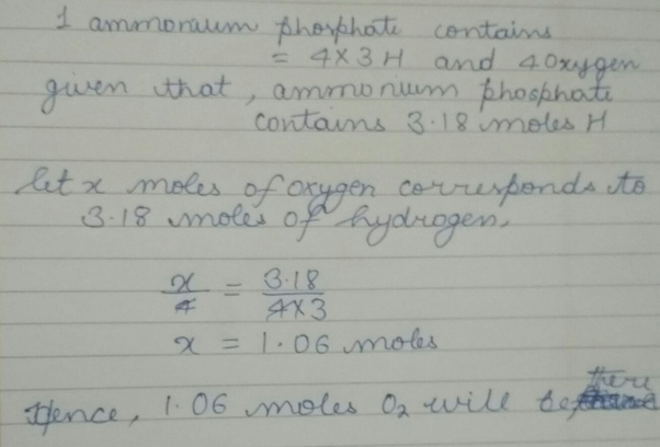 If a sample of ammonium phosphate (NH4) 3 PO4 contains 3