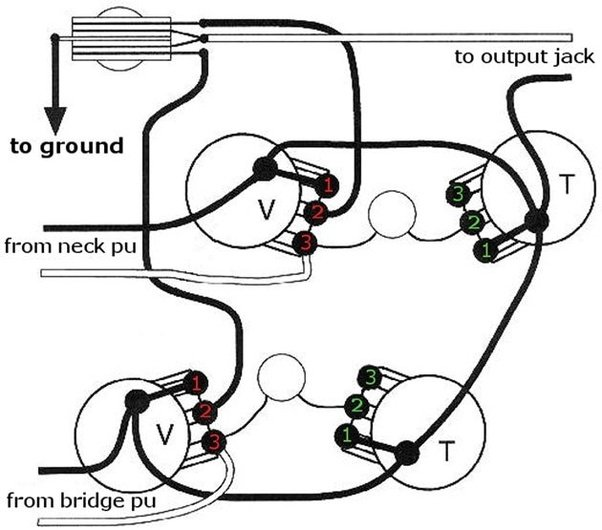 How to re-wire an electric guitar with two knobs and two