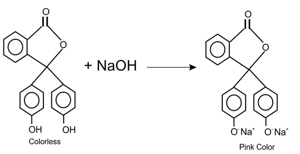 How to write a chemical equation of phenolphthalein and