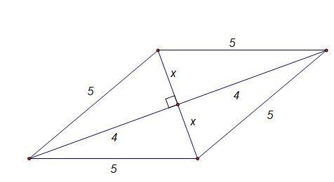 What is the area of a rhombus if one diagonal is 8 cm's