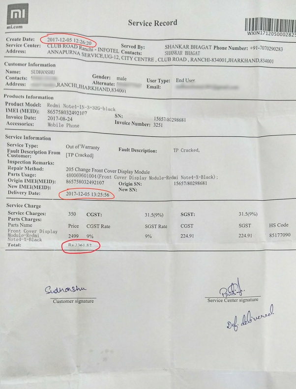 How much does it cost to repair the Redmi Note 4 front