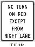 Is it legal to turn right on a red light from the second