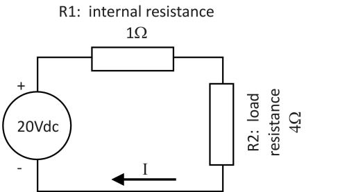 small resolution of the internal resistance is shown as a separate resistor r1 and the load resistor as r2 it is a simple series circuit and the same current i flows through