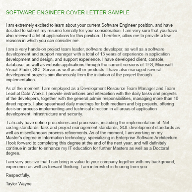 What are some examples of a good cover letter for a software engineering job  Quora
