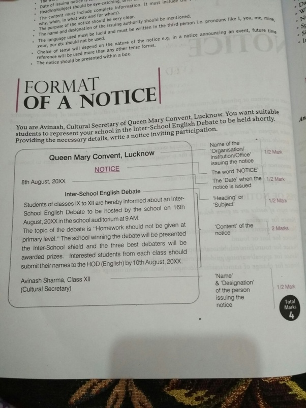 What is the format of writing a notice for class 9? - Quora