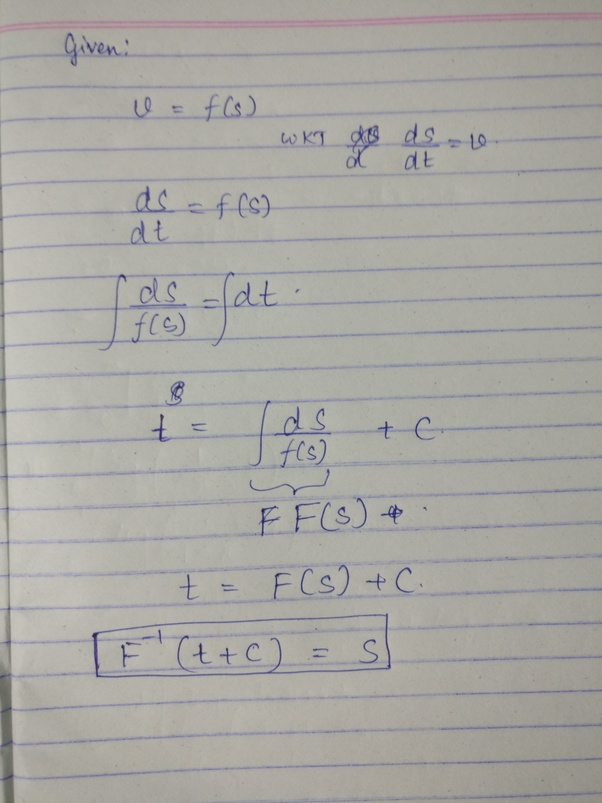 How does one find displacement as a function of time if