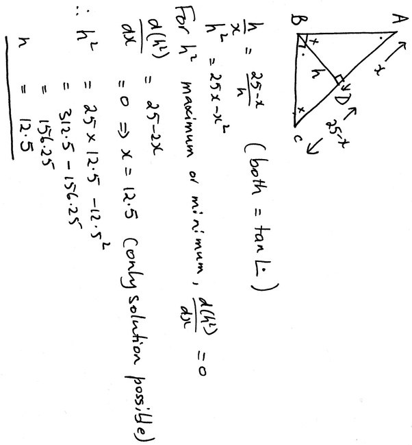 Suppose that ABC is a right triangle with a right angle at