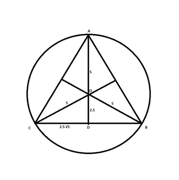 What is the area of an equilateral triangle inscribed in a