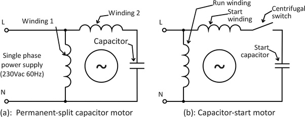 wiring diagram of single phase motor with capacitor