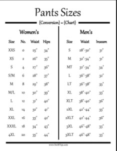 So myself with  moderate men   waist of inches would be xl in women wow  doubt that have inch hips though also is there size chart for clothing to am rh quora