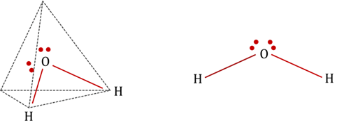 What is the molecular structure of H2O on the bases of