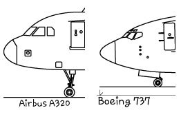 What are the differences between the Airbus A320 and the