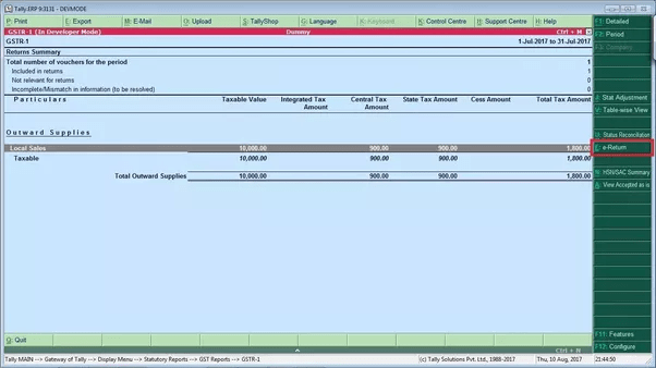 Are GSTR-1 and GSTR-2 excel files from tally ERP 9 release 6.0.3 ...