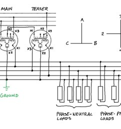 while this connection technically produces a two phase output as shown in the phasor diagram it can be used to serve single phase loads as shown  [ 1255 x 863 Pixel ]