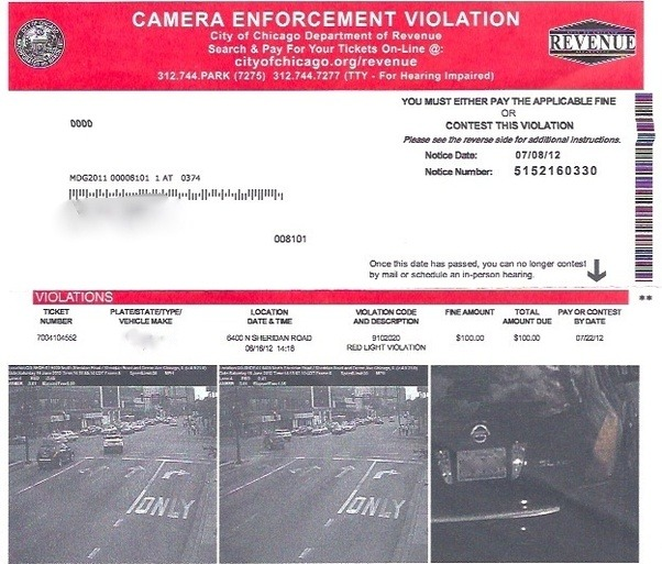 Red Light Camera Ticket