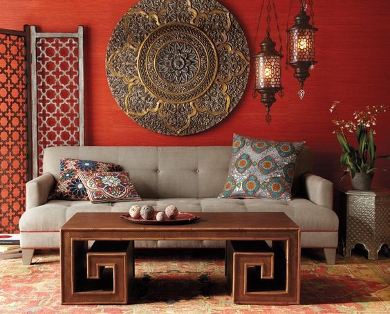 living room design indian style contemporary furniture for sale what are some interior ideas quora bold designs convey colors boldly by having a red wall with subtle pattern that makes it even more interesting