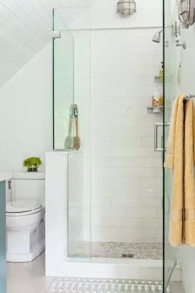 using glass subway tiles in a shower