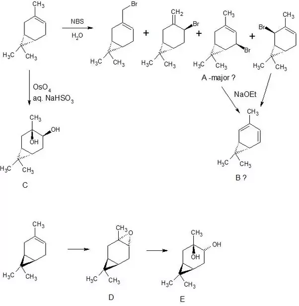 How would 3-carene react with NBS/H2O, OsO4, & CH3CO3H