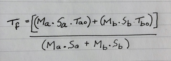 If two liquids at different temperatures are mixed, then
