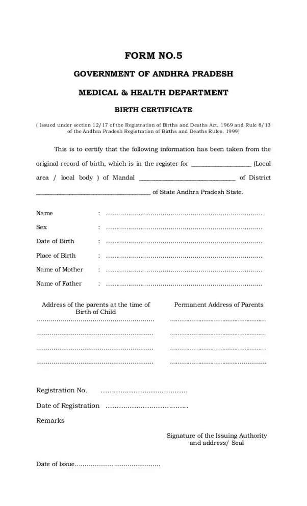 How to apply for a birth certificate in Andhra Pradesh for those ...